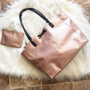 KATE SPADE rose gold tote and clutch BUNDLE